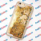 Чехол-переливашка пластиковый для iPhone 6/6S под полиграфическую вставку, прозрачный с блестками