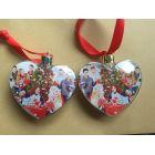 Елочный шар-сердце под полиграфическую вставку с цветным колпачком 9 см