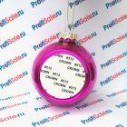 Елочный шар стеклянный с пластиной для сублимации, розовый