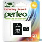 Micro SecureDigital 4Gb Perfeo PF4GMCSH10AES {MicroSDHC Class 10, SD adapter}
