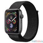 Apple Watch Series 4, 44 мм, корпус из алюминия цвета «серый космос», спортивный браслет чёрного цвета [MU6E2RU/A]