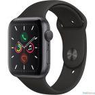 Apple Watch Series 5, 44 мм, корпус из алюминия цвета «серый космос», спортивный браслет чёрного цвета [MWVF2RU/A]